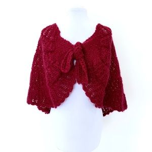 Sweaters - Vintage Mohair Crochet Cape Poncho Shawl Burgundy